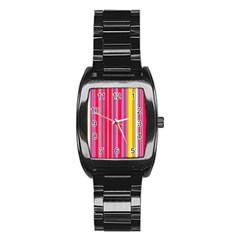 Stripes Colorful Background Stainless Steel Barrel Watch by Simbadda