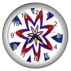 Fractal Flower Wall Clocks (silver)  by Simbadda