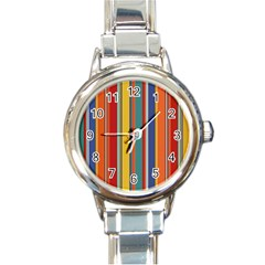 Stripes Background Colorful Round Italian Charm Watch by Simbadda