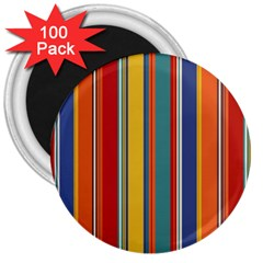 Stripes Background Colorful 3  Magnets (100 Pack) by Simbadda
