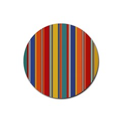 Stripes Background Colorful Rubber Coaster (round)  by Simbadda