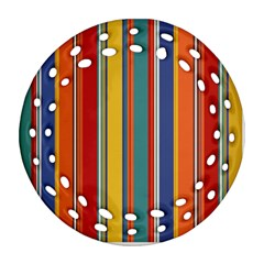 Stripes Background Colorful Round Filigree Ornament (two Sides)