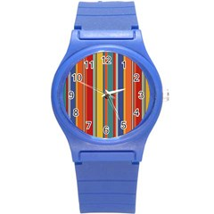Stripes Background Colorful Round Plastic Sport Watch (s) by Simbadda