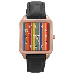 Stripes Background Colorful Rose Gold Leather Watch  by Simbadda