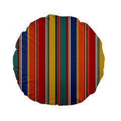Stripes Background Colorful Standard 15  Premium Flano Round Cushions by Simbadda