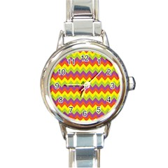 Colorful Zigzag Stripes Background Round Italian Charm Watch by Simbadda