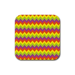 Colorful Zigzag Stripes Background Rubber Coaster (square)