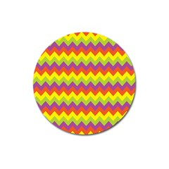 Colorful Zigzag Stripes Background Magnet 3  (round) by Simbadda