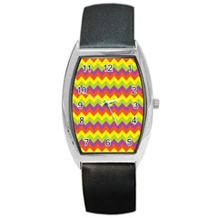 Colorful Zigzag Stripes Background Barrel Style Metal Watch
