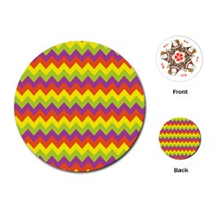 Colorful Zigzag Stripes Background Playing Cards (round)  by Simbadda