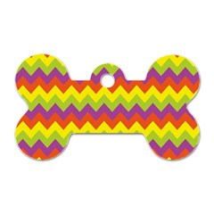 Colorful Zigzag Stripes Background Dog Tag Bone (one Side) by Simbadda