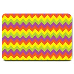Colorful Zigzag Stripes Background Large Doormat  by Simbadda