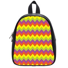 Colorful Zigzag Stripes Background School Bags (small)  by Simbadda
