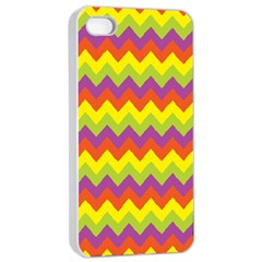 Colorful Zigzag Stripes Background Apple Iphone 4/4s Seamless Case (white) by Simbadda