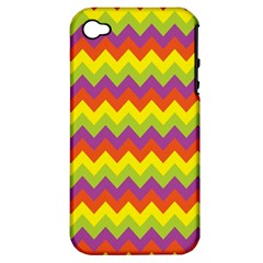 Colorful Zigzag Stripes Background Apple Iphone 4/4s Hardshell Case (pc+silicone) by Simbadda