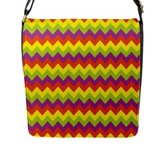 Colorful Zigzag Stripes Background Flap Messenger Bag (l)  by Simbadda