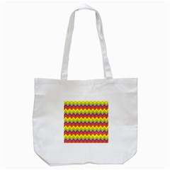 Colorful Zigzag Stripes Background Tote Bag (white) by Simbadda