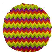 Colorful Zigzag Stripes Background Large 18  Premium Flano Round Cushions by Simbadda