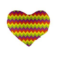 Colorful Zigzag Stripes Background Standard 16  Premium Flano Heart Shape Cushions by Simbadda