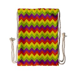 Colorful Zigzag Stripes Background Drawstring Bag (small)