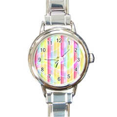 Abstract Stripes Colorful Background Round Italian Charm Watch by Simbadda