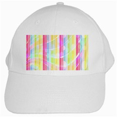 Abstract Stripes Colorful Background White Cap