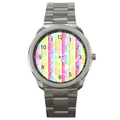 Abstract Stripes Colorful Background Sport Metal Watch