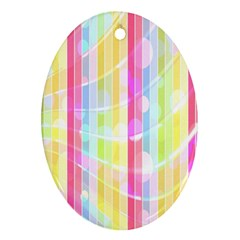 Abstract Stripes Colorful Background Oval Ornament (two Sides) by Simbadda