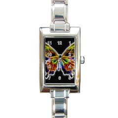 Fractal Butterfly Rectangle Italian Charm Watch by Simbadda