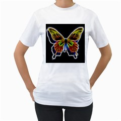 Fractal Butterfly Women s T Shirt (white) (two Sided) by Simbadda