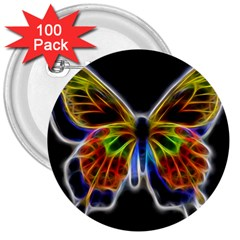 Fractal Butterfly 3  Buttons (100 Pack)  by Simbadda