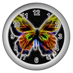Fractal Butterfly Wall Clocks (silver)  by Simbadda