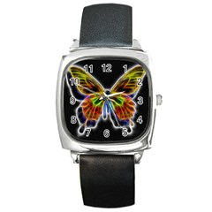 Fractal Butterfly Square Metal Watch by Simbadda