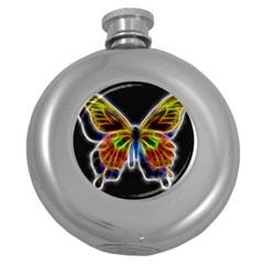 Fractal Butterfly Round Hip Flask (5 Oz) by Simbadda