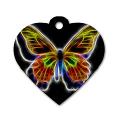 Fractal Butterfly Dog Tag Heart (two Sides) by Simbadda