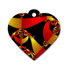 Fractal Ribbons Dog Tag Heart (one Side)