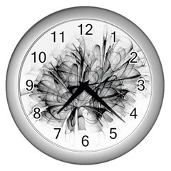 Fractal Black Flower Wall Clocks (silver)  by Simbadda