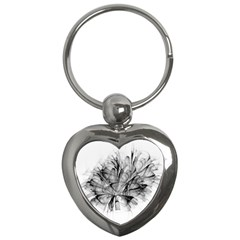 Fractal Black Flower Key Chains (heart)  by Simbadda