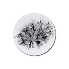 Fractal Black Flower Rubber Coaster (round)  by Simbadda