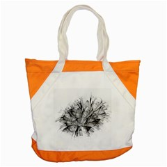 Fractal Black Flower Accent Tote Bag by Simbadda