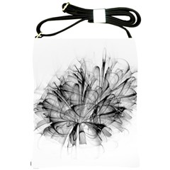 Fractal Black Flower Shoulder Sling Bags by Simbadda