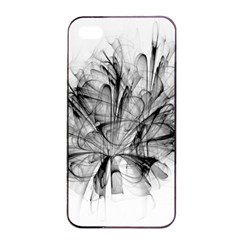 Fractal Black Flower Apple Iphone 4/4s Seamless Case (black) by Simbadda