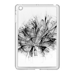 Fractal Black Flower Apple Ipad Mini Case (white) by Simbadda