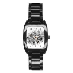 Fractal Black Flower Stainless Steel Barrel Watch by Simbadda