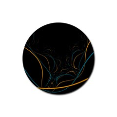 Fractal Lines Rubber Coaster (round)  by Simbadda