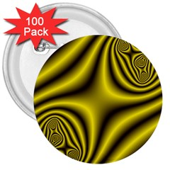 Yellow Fractal 3  Buttons (100 Pack)  by Simbadda
