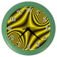 Yellow Fractal Color Wall Clocks by Simbadda
