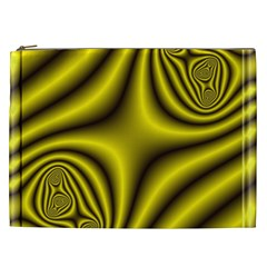 Yellow Fractal Cosmetic Bag (xxl)