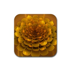 Yellow Flower Rubber Coaster (square)  by Simbadda