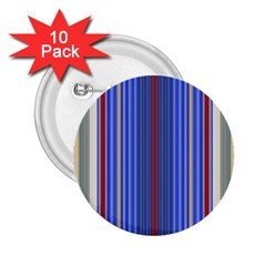 Colorful Stripes 2 25  Buttons (10 Pack)  by Simbadda
